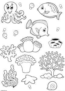 dibujos de mariscos y pescados scaled