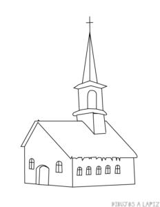 imagen de una iglesia para colorear