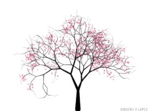 dibujo cerezo en flor